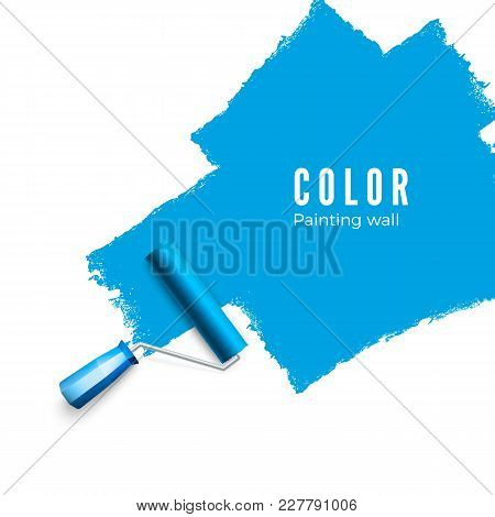 Paint Roller Brush. Color Paint Texture When Painting With A Roller.  Painting The Wall In Blue. Vec