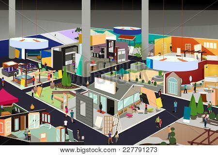 A Vector Illustration Of Home And Garden Trade Show