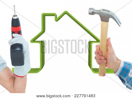 Digital composite of Composite image of people using tools