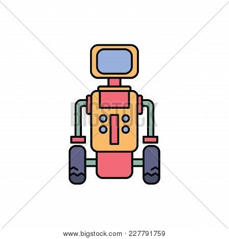 Robot Icon In Cartoon Style. Vector Illustration With Robot On White Background. Robot Object For We