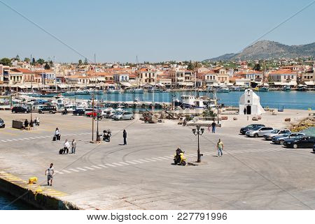 AEGINA, GREECE - APRIL 26, 2017: The harbour at Aegina Town on the Greek island of Aegina. Less than an hour from Piraeus, the island is a popular destination for Athenians.