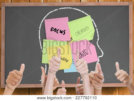 Digital composite of Thumbs up blackboard with head with post-it. Creativity