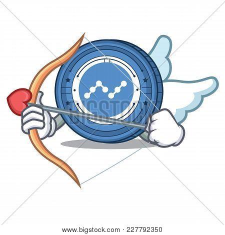 Cupid Nano Coin Character Cartoon Vector Illustration