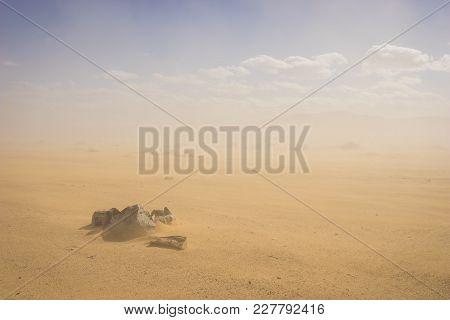 Rocks In Desert Sandstorm