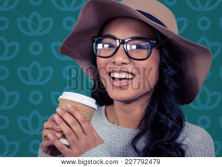 Digital composite of Woman in sun hat with coffee against blue floral pattern