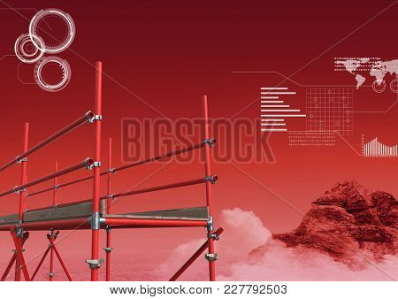 Digital composite of Red mountain and cloud landscape with technology interface and 3D Scaffolding