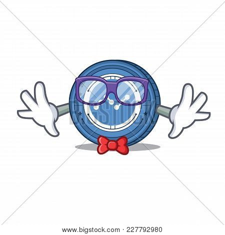 Geek Nano Coin Character Cartoon Vector Illustration
