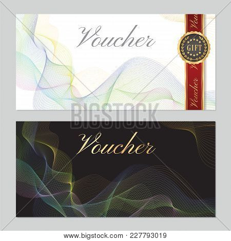 Voucher, Gift Certificate, Coupon Template. Guilloche Pattern (watermark, Colorful Lines). Backgroun