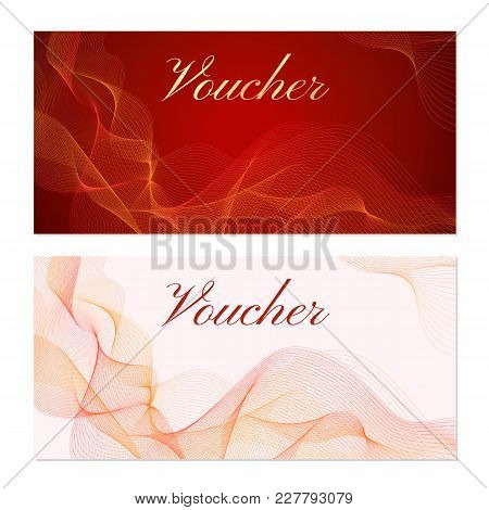 Voucher, Gift Certificate Or Coupon Template. Guilloche Pattern With Red Lines