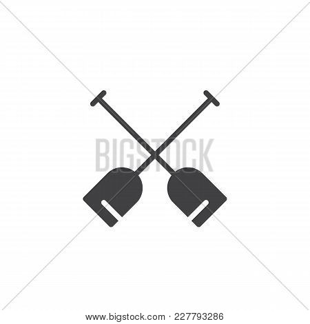 Double Paddle Vector Icon. Filled Flat Sign For Mobile Concept And Web Design. Boat Oars Simple Soli