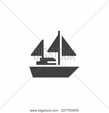 Yacht With Sails Vector Icon. Filled Flat Sign For Mobile Concept And Web Design. Sailing Ship Simpl