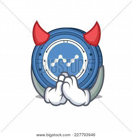Devil Nano Coin Mascot Cartoon Vector Illustration