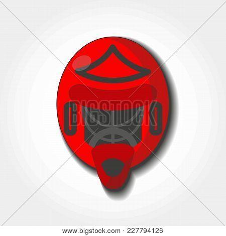 Red Goalie Helmet In Flat Stile. Hockey Protective Equipment Goalkeeper Helmet. Isolated Icon.