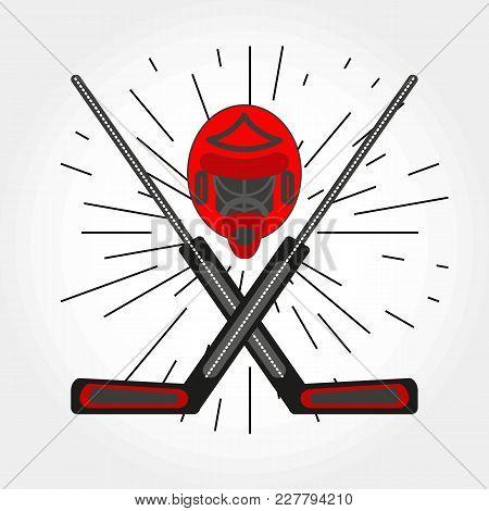 Hockey Goalkeepers Helmet And Crossed Sticks. Vector Hockey Symbol With Goalie Helmet And Sticks. Lo