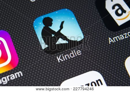 Sankt-petersburg, Russia, February 21, 2018: Amazon Kindle Application Icon On Apple Iphone X Screen