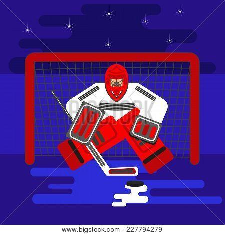Hockey Goalkeeper In Flat Stile Protecting The Gate, Washer. Color Vector Illustration. Goaltender S
