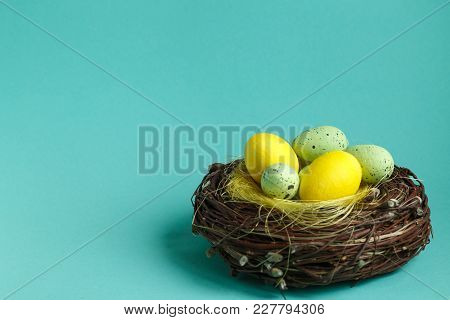 Colorful Easter Eggs In A Nest On Turquoise Background