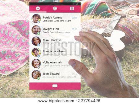 Digital composite of Hand touching Social Media Messenger App Interface
