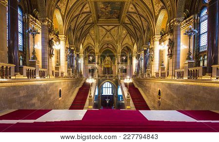 Budapest, Hungary - February 15, 2018: Interior View Of Parliament Building In Budapest. The Buildin