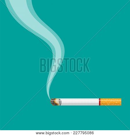 Burning Cigarette With Smoke. Vector Illustration In Flat Style