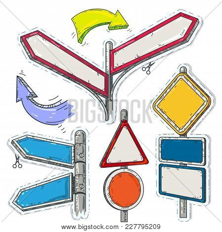 Vector Illustration Sketch, Of Comic Style Colorful Icons, Set Of Empty Pointers, Arrows And Road Si