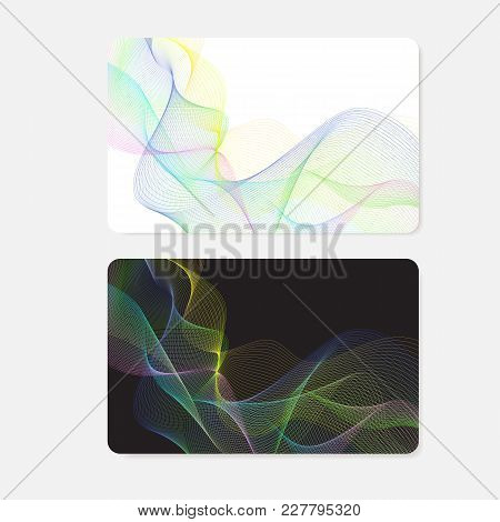 Business Card, Gift Card, Coupon, (discount Voucher) With Guilloche Pattern (colorful Lines, Waterma