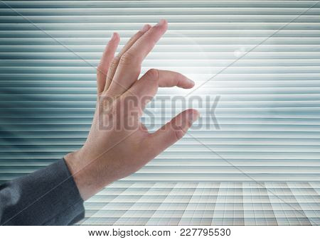 Digital composite of Hand Touching air of perspective futuristic background