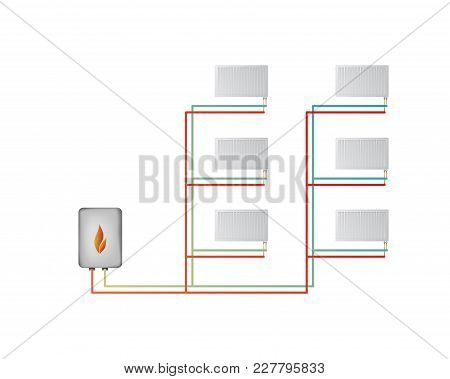 Two-pipe Vertical Heating System Vector Illustration. The Lower Connection Of Steel Panel Radiators.
