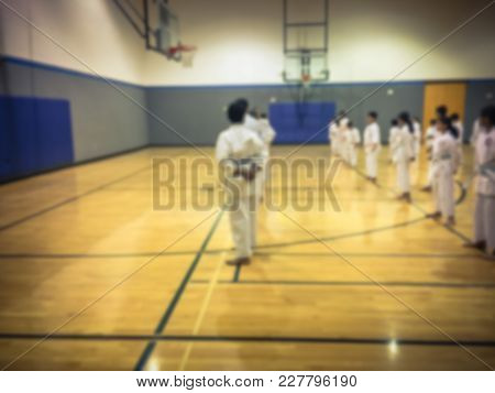 Blurred Image Of Children Martial Art Class In America