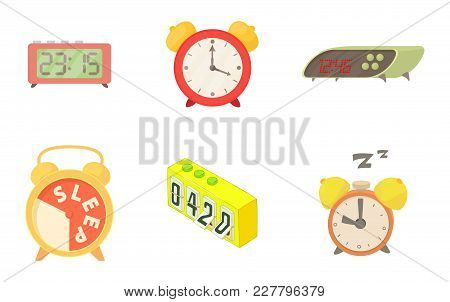Alarm Clock Icon Set. Cartoon Set Of Alarm Clock Vector Icons For Web Design Isolated On White Backg