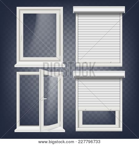 Plastic Pvc Window Vector. Roller Blind. Opened And Closed. Front View. Home Window Design Element.