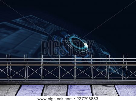 Digital composite of Wood and technology interface with 3D Scaffolding