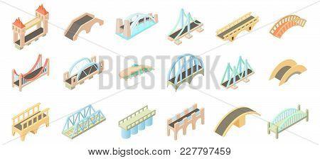 Bridge Icon Set. Cartoon Set Of Bridge Vector Icons For Web Design Isolated On White Background