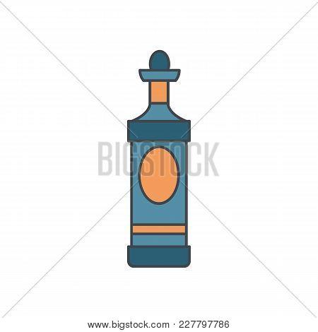 Alcohol Bottle Cartoon Icon. Vector Object In Colour Cartoon Stile Martini Bottle Icon For Drinks De