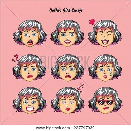 Gothic Teen Girl Emoji, Smile Icons Set, Vector, Art, Design, Color