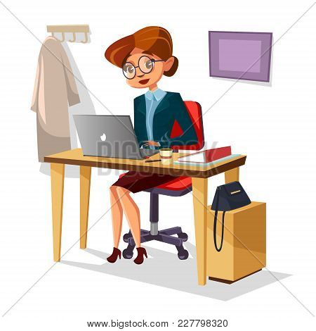 Businesswoman In Office Vector Illustration Of Cartoon Woman Manager Working On Laptop At Table. Wom