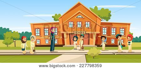 Muslim School Vector Illustration Cartoon Children And Teacher Going To School. Woman Teacher And Pu