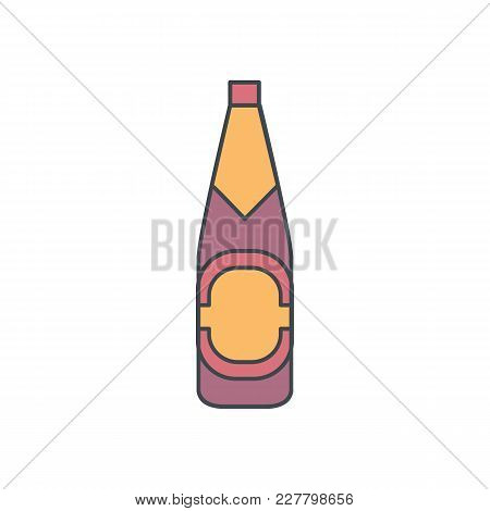 Alcohol Bottle Cartoon Icon. Vector Object In Colour Cartoon Stile Beer Bottle Icon For Drinks Desig
