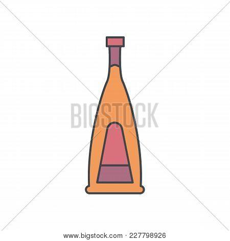 Alcohol Bottle Cartoon Icon. Vector Object In Colour Cartoon Stile Vodka Bottle Icon For Drinks Desi
