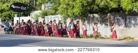 Pondichery, Puduchery, India - September 04, 2017. Unidentified Children Go To School With Uniform D