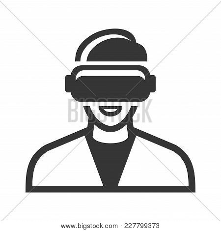Virtual Reality Headset Icon On White Background. Vector Illustration