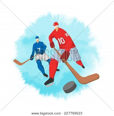 Two Hockey Players In Abstract Flat Style. Vector Illustration, Isolated On White Background.
