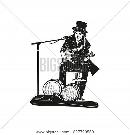 Vector Image Of A Street Musician Man Orchestra