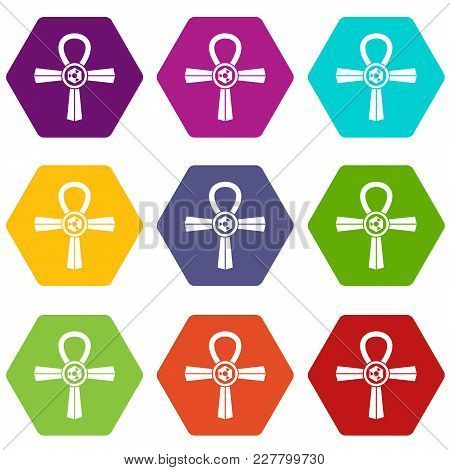 Egypt Ankh Symbol Icon Set Many Color Hexahedron Isolated On White Vector Illustration