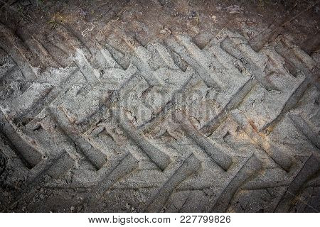 Tire Tracks On A Muddy Road. It Can Be Used As Background