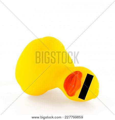Fallen Ducky With Censorship. Concept Of Violence And Crimes Towards Children. Violated Childhood, S