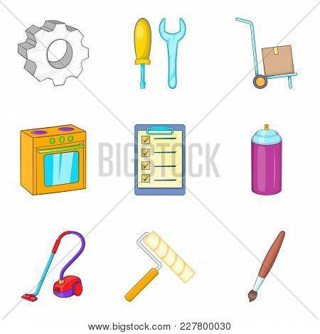 House Repair Icons Set. Cartoon Set Of 9 House Repair Vector Icons For Web Isolated On White Backgro