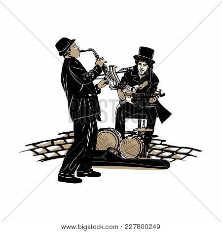 Vector Image Of Street Musicians, Sex Player And Guitarist Man Band