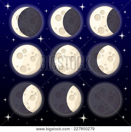 Set Of Different Moon Phases Space Object Natural Satellite Of The Earth Vector Illustration Isolate