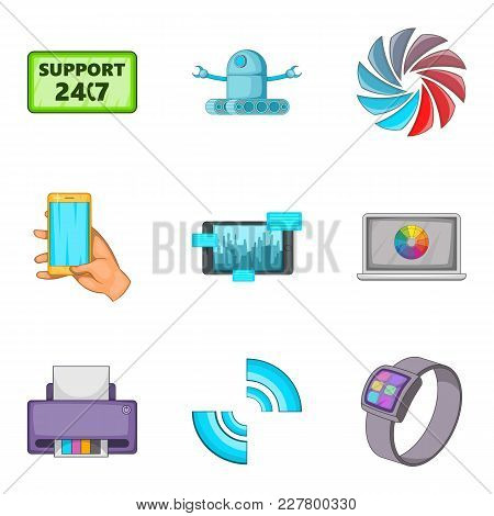 Setting Icons Set. Cartoon Set Of 9 Setting Vector Icons For Web Isolated On White Background